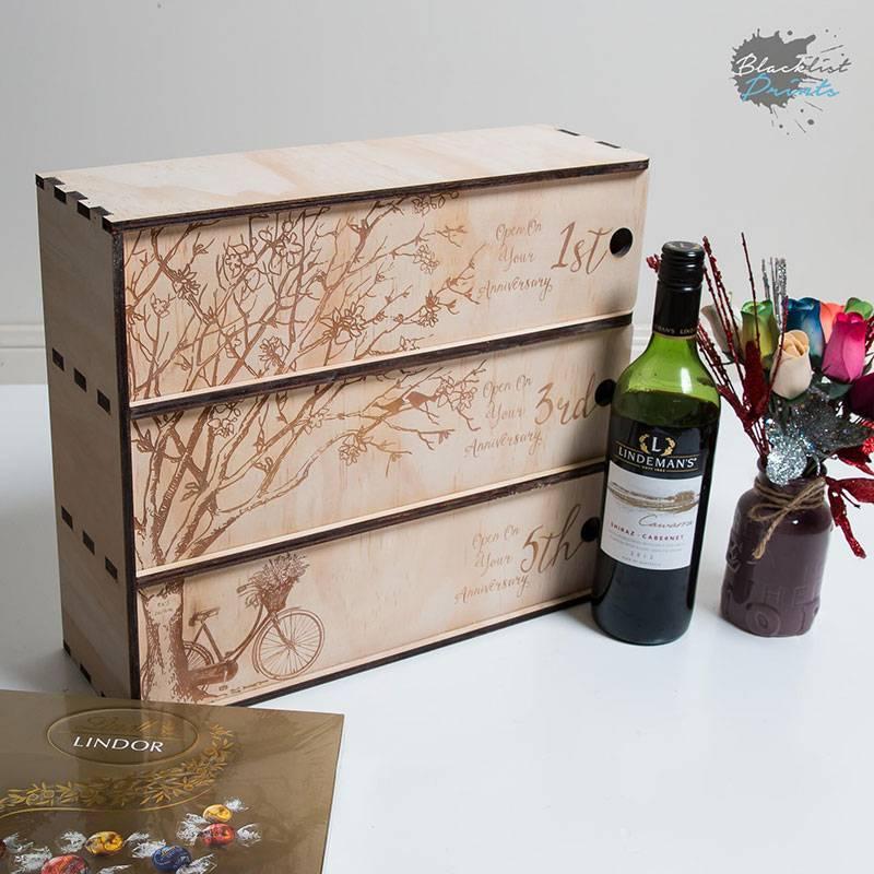 Hộp quà gỗ thông đựng rượu