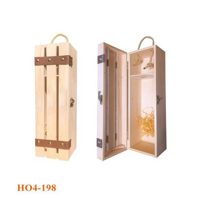 Hộp gỗ đựng chai rượu đơn giản, phong cách