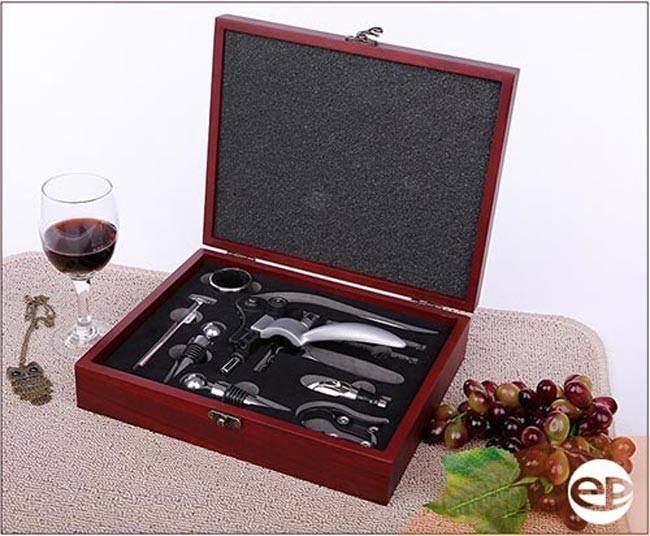 Hộp khui mở rượu 9 món bằng gỗ