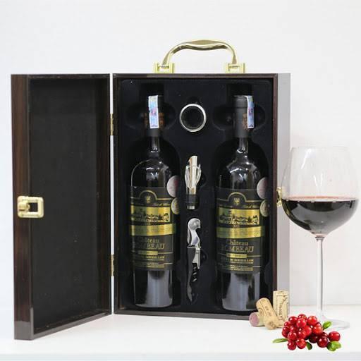 Mẫu hộp gỗ sơn mài đôi đựng rượu cao cấp