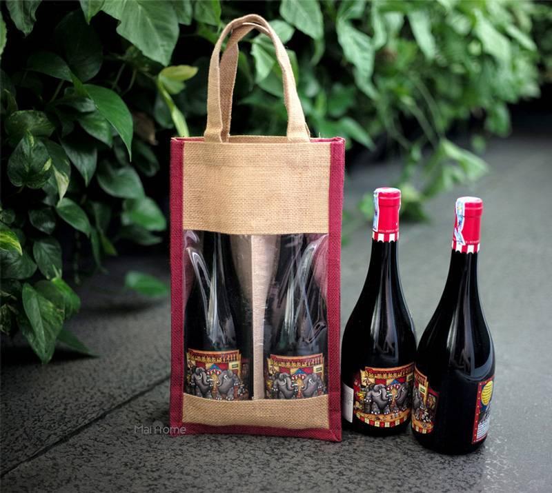 Túi quà đựng rượu vải bố độc đáo
