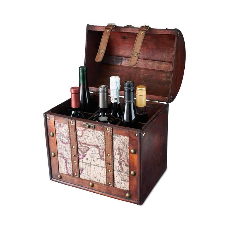 Mẫu hộp rượu da 6 chai để trang trí