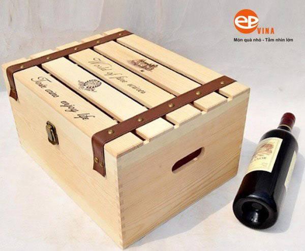Hộp gỗ đựng rượu vang 6 chai