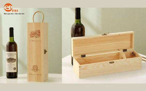 Hộp gỗ đựng rượu vang mẫu 2