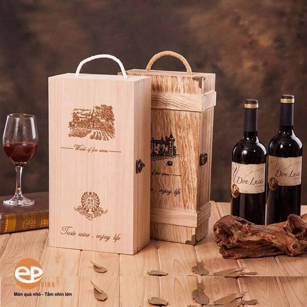 Hộp gỗ đựng rượu vang mẫu 3