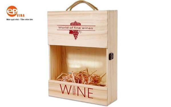 Hộp gỗ đựng rượu vang mẫu 4
