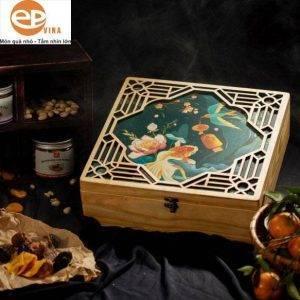Hộp quà gỗ thông đựng quà tết đẹp