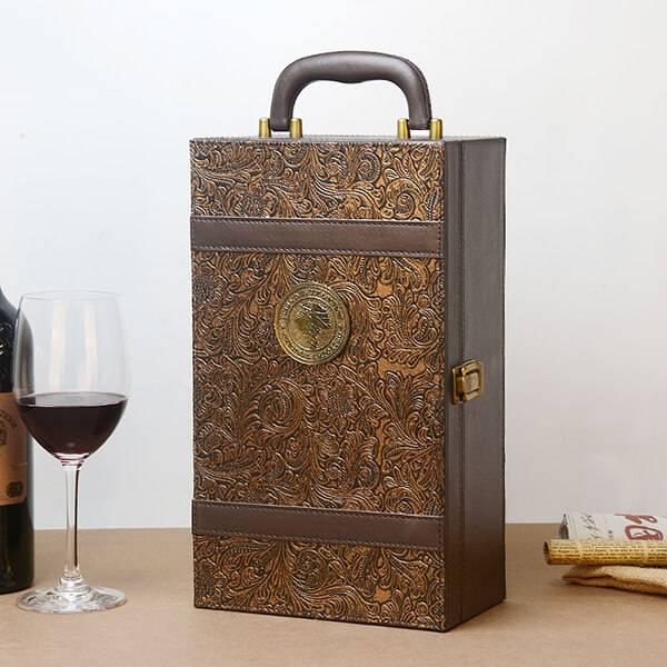 Hộp rượu da trang trí