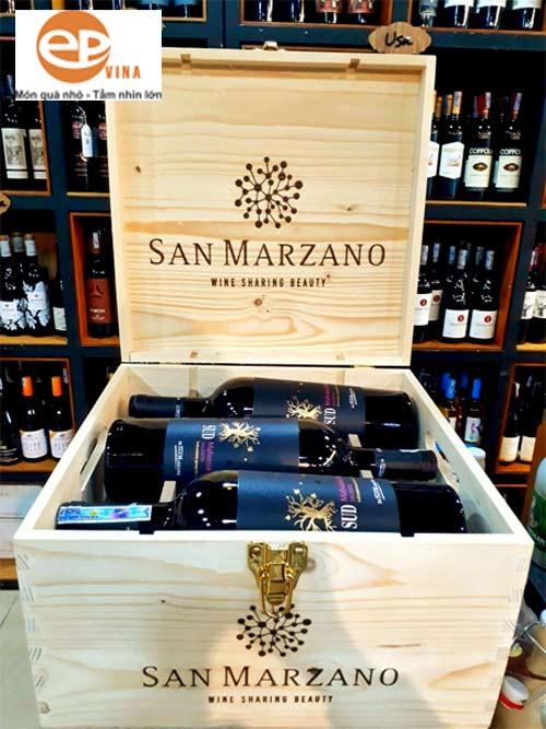 Rượu vang Ý hộp gỗ 6 chai Sud